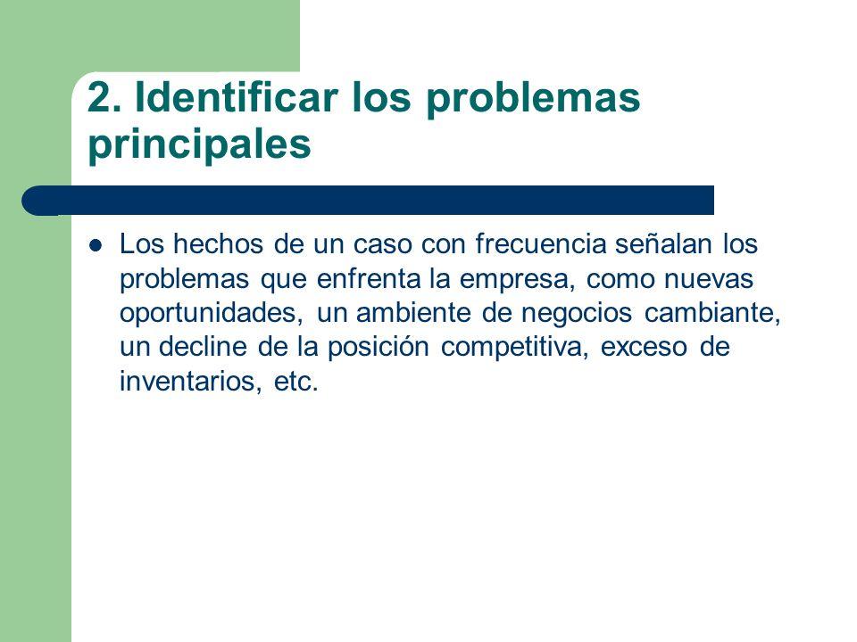 2. Identificar los problemas principales Los hechos de un caso con frecuencia señalan los problemas que enfrenta la empresa, como nuevas oportunidades