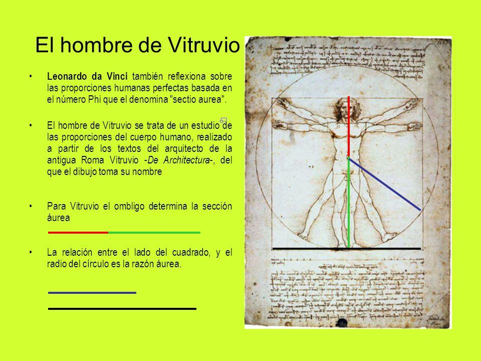 El hombre de Vitruvio Leonardo da Vinci también reflexiona sobre las proporciones humanas perfectas basada en el número Phi que el denomina