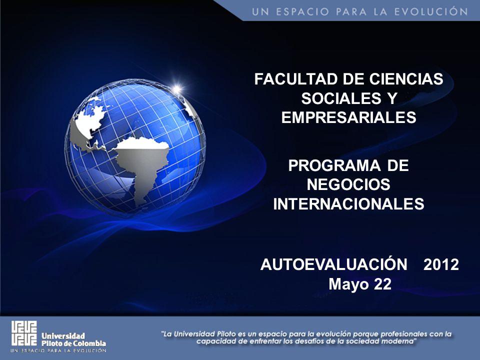FACULTAD DE CIENCIAS SOCIALES Y EMPRESARIALES PROGRAMA DE NEGOCIOS INTERNACIONALES AUTOEVALUACIÓN 2012 Mayo 22