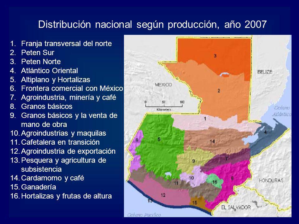 1.Franja transversal del norte 2.Peten Sur 3.Peten Norte 4.Atlántico Oriental 5.Altiplano y Hortalizas 6.Frontera comercial con México 7.Agroindustria