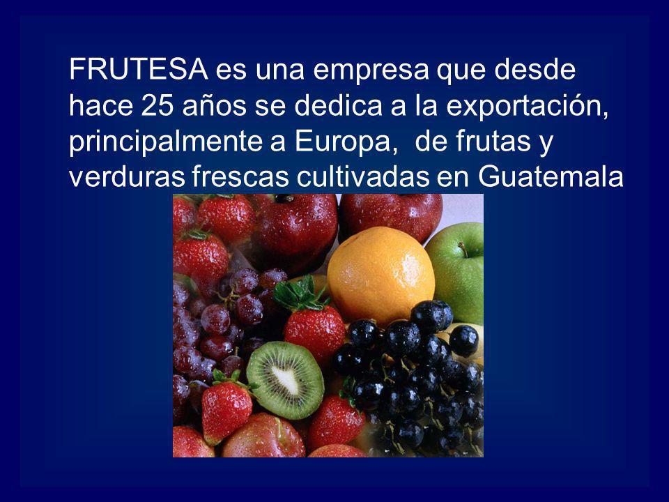 FRUTESA es una empresa que desde hace 25 años se dedica a la exportación, principalmente a Europa, de frutas y verduras frescas cultivadas en Guatemal