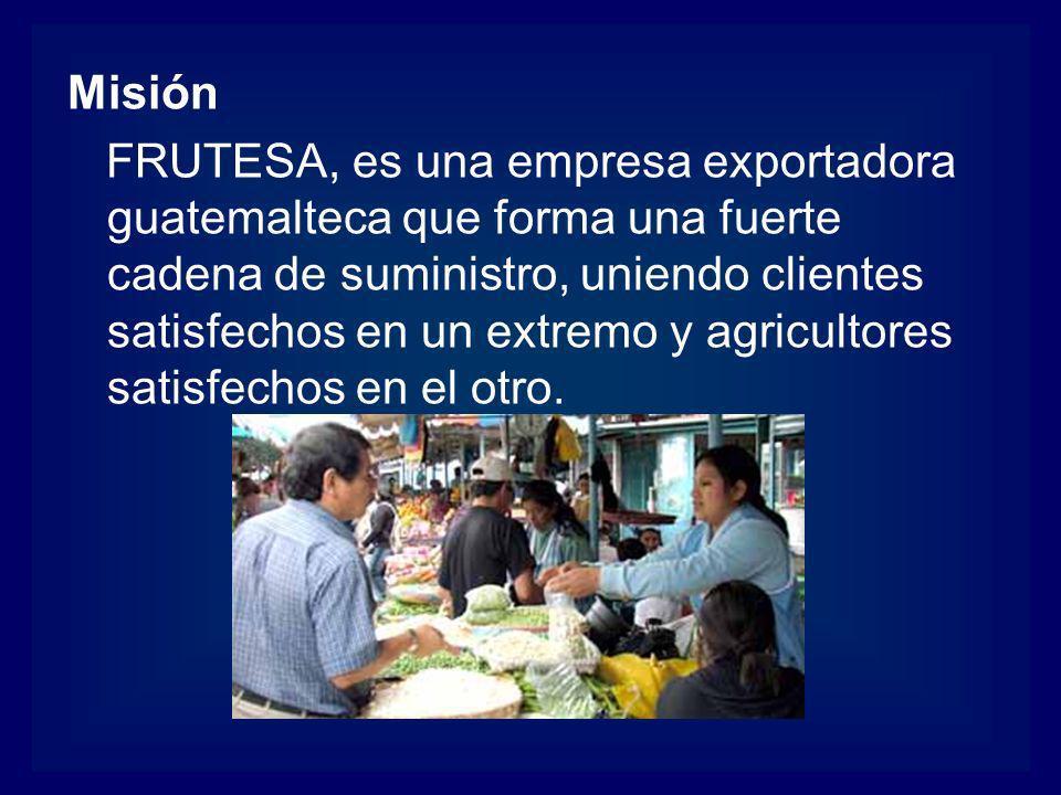 Misión FRUTESA, es una empresa exportadora guatemalteca que forma una fuerte cadena de suministro, uniendo clientes satisfechos en un extremo y agricu