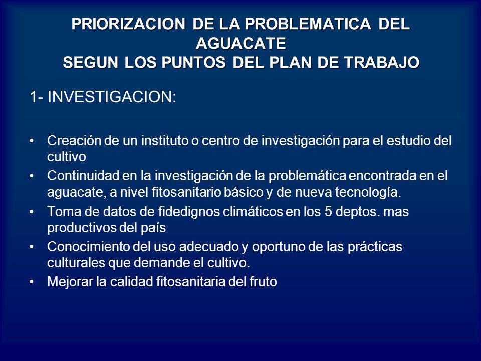 PRIORIZACION DE LA PROBLEMATICA DEL AGUACATE SEGUN LOS PUNTOS DEL PLAN DE TRABAJO 1- INVESTIGACION: Creación de un instituto o centro de investigación