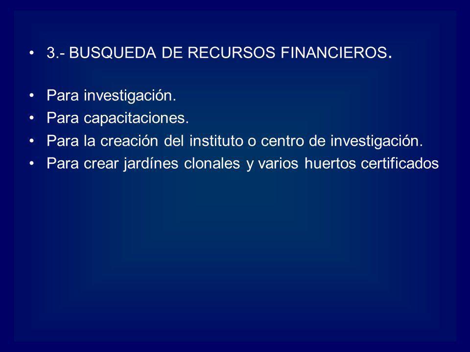 3.- BUSQUEDA DE RECURSOS FINANCIEROS. Para investigación. Para capacitaciones. Para la creación del instituto o centro de investigación. Para crear ja