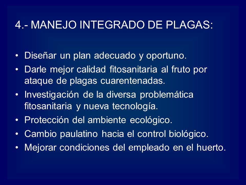 4.- MANEJO INTEGRADO DE PLAGAS: Diseñar un plan adecuado y oportuno. Darle mejor calidad fitosanitaria al fruto por ataque de plagas cuarentenadas. In