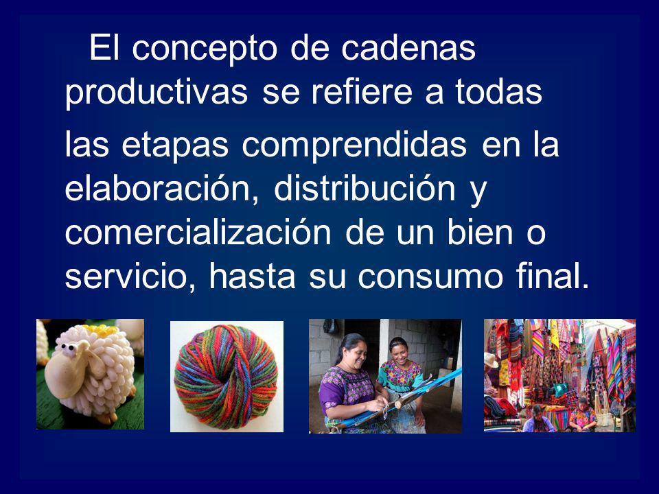 El concepto de cadenas productivas se refiere a todas las etapas comprendidas en la elaboración, distribución y comercialización de un bien o servicio