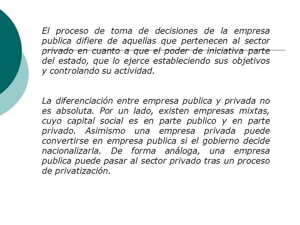 Diferencias entre las empresas Públicas y Privadas: Las empresas públicas pertenecen al sector públicos (administración central o local), y las empres