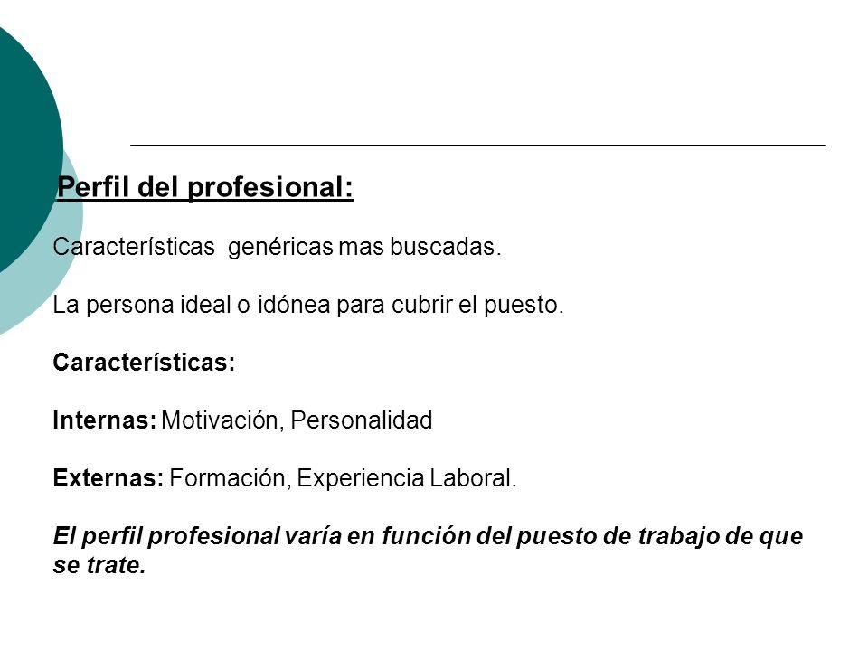 Perfil del profesional: Características genéricas mas buscadas.