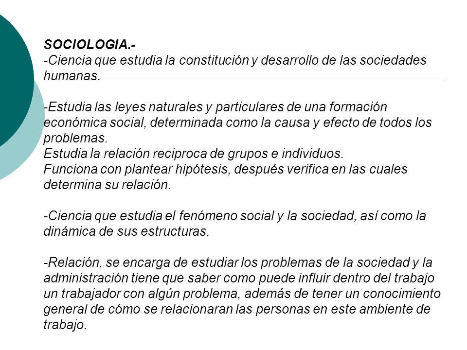 CIENCIAS SOCIALES: - Ciencia que estudia las disciplinas académicas, origen y desarrollo de la sociedad. - Relación: La administración tiene un campo