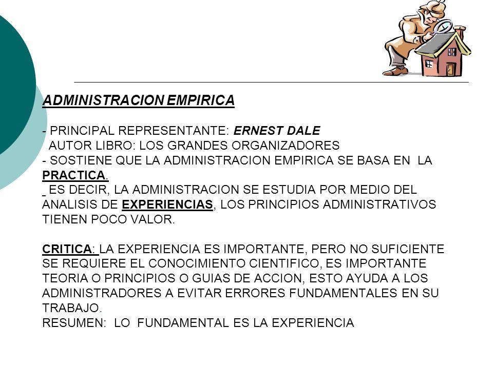 TIPOS DE TEORIAS O ESCUELAS ADMINISTRATIVAS -EMPIRICA -ADMINISTRACION CIENTIFICA -ADMINISTRACION CLASICA -ADMINISTRACION HUMANO RELACIONISTA -ADMINIST