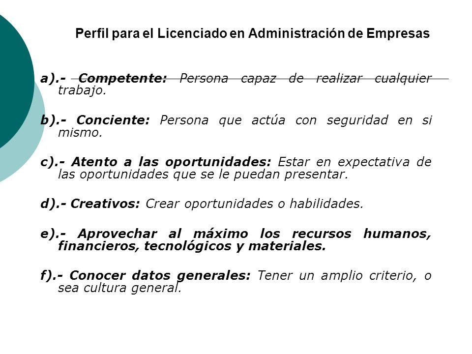 Perfil para el Licenciado en Administración de Empresas a).- Competente: Persona capaz de realizar cualquier trabajo.
