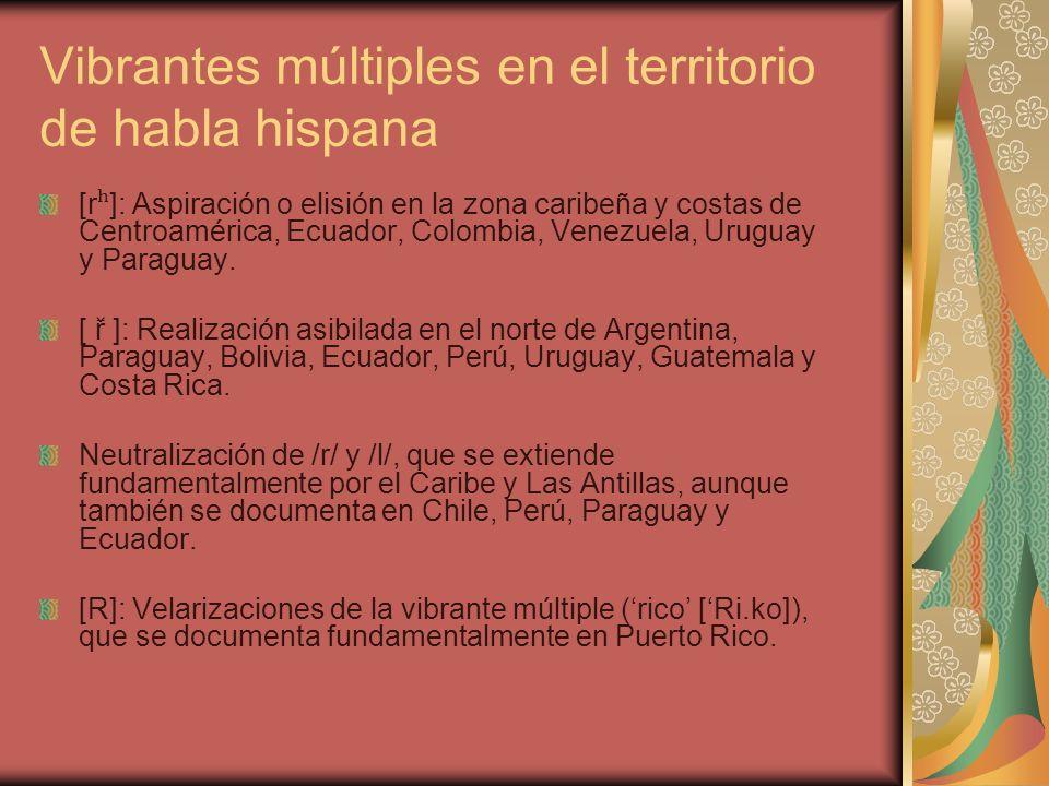 Vibrantes múltiples en el territorio de habla hispana [r ʰ ]: Aspiración o elisión en la zona caribeña y costas de Centroamérica, Ecuador, Colombia, V