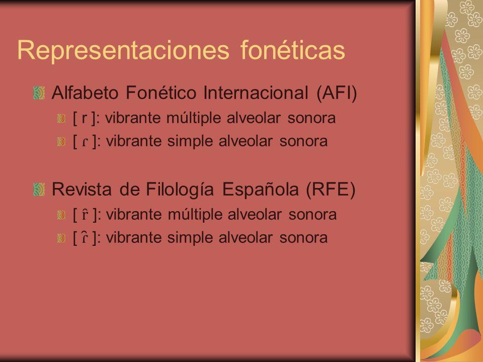 Representaciones fonéticas Alfabeto Fonético Internacional (AFI) [ r ]: vibrante múltiple alveolar sonora [ ɾ ]: vibrante simple alveolar sonora Revis