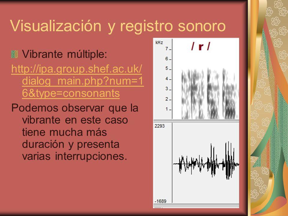 Visualización y registro sonoro Vibrante múltiple: http://ipa.group.shef.ac.uk/ dialog_main.php?num=1 6&type=consonants Podemos observar que la vibran