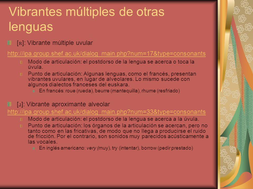 Vibrantes múltiples de otras lenguas [ ʀ ]: Vibrante múltiple uvular http://ipa.group.shef.ac.uk/dialog_main.php?num=17&type=consonants Modo de articu