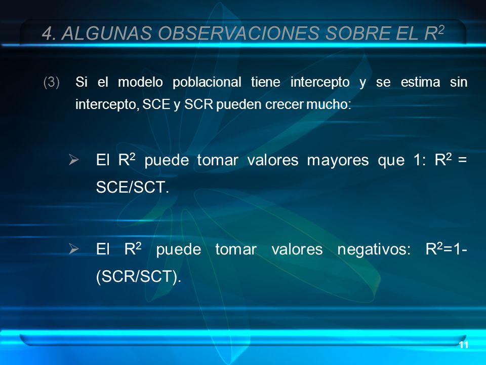 11 (3)Si el modelo poblacional tiene intercepto y se estima sin intercepto, SCE y SCR pueden crecer mucho: El R 2 puede tomar valores mayores que 1: R