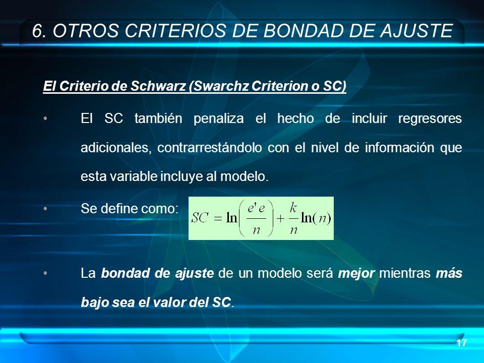 17 El Criterio de Schwarz (Swarchz Criterion o SC) El SC también penaliza el hecho de incluir regresores adicionales, contrarrestándolo con el nivel d