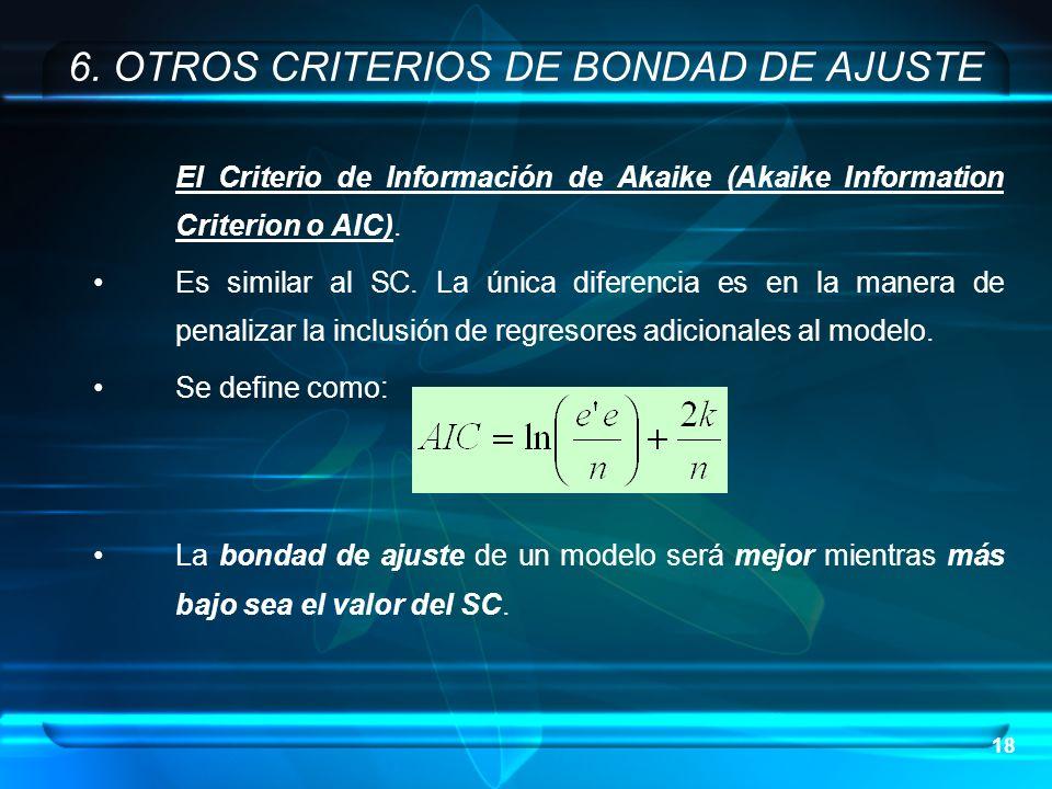 18 El Criterio de Información de Akaike (Akaike Information Criterion o AIC). Es similar al SC. La única diferencia es en la manera de penalizar la in