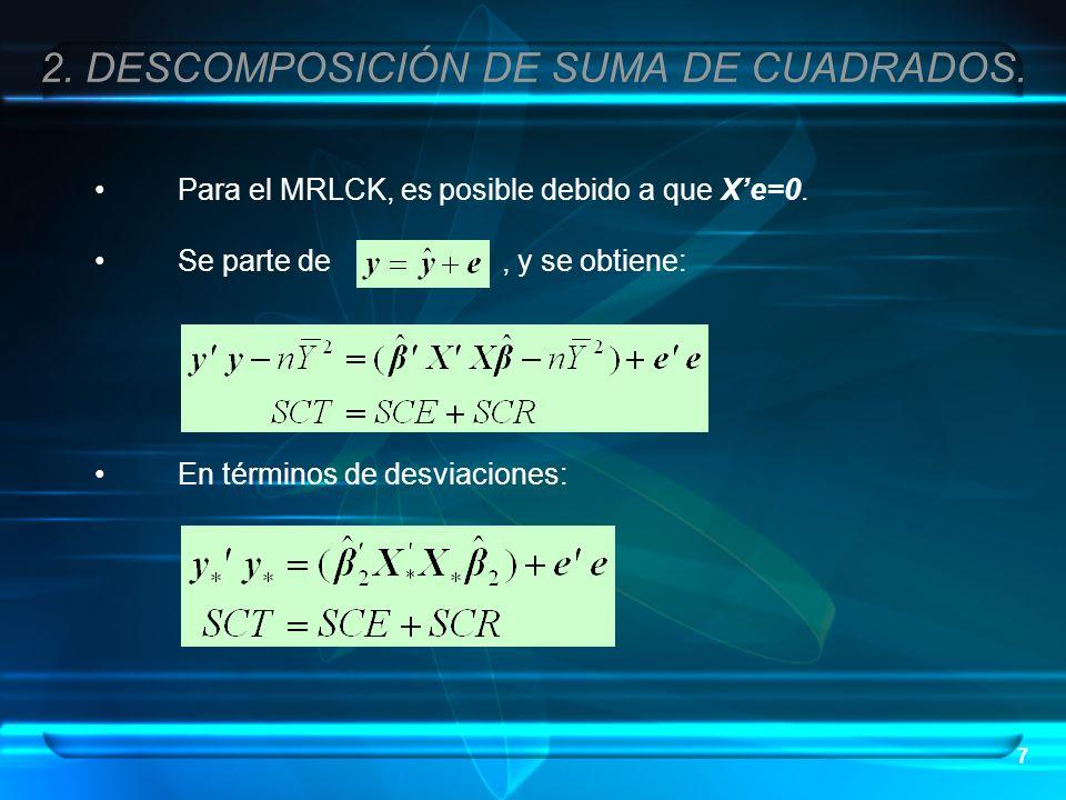 7 Para el MRLCK, es posible debido a que Xe=0. Se parte de, y se obtiene: En términos de desviaciones: 2. DESCOMPOSICIÓN DE SUMA DE CUADRADOS.