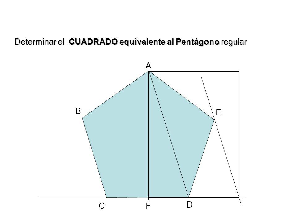 A B C D E F Determinar el CUADRADO equivalente al Pentágono regular