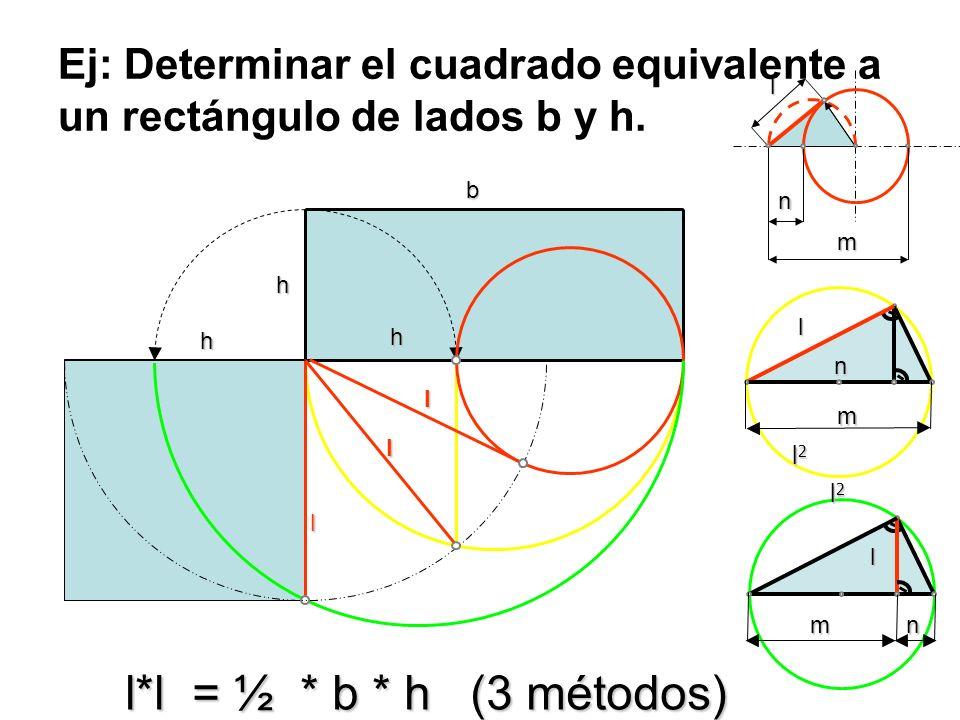 Ej: Determinar el cuadrado equivalente a un rectángulo de lados b y h. h b l l h h llm n l m n l m n l*l =½ * b * h (3 métodos) l*l = ½ * b * h (3 mét