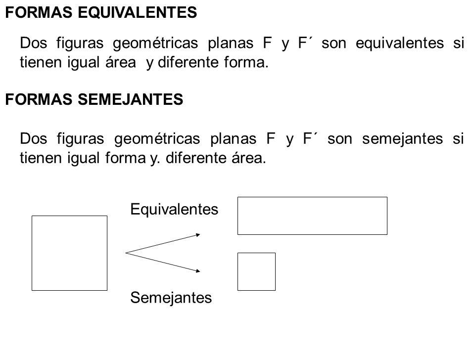 FORMAS EQUIVALENTES Dos figuras geométricas planas F y F´ son equivalentes si tienen igual área y diferente forma. FORMAS SEMEJANTES Dos figuras geomé
