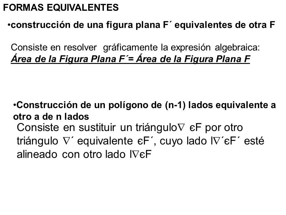 Consiste en sustituir un triángulo єF por otro triángulo ´ equivalente єF´, cuyo lado l ´єF´ esté alineado con otro lado l єF FORMAS EQUIVALENTES cons