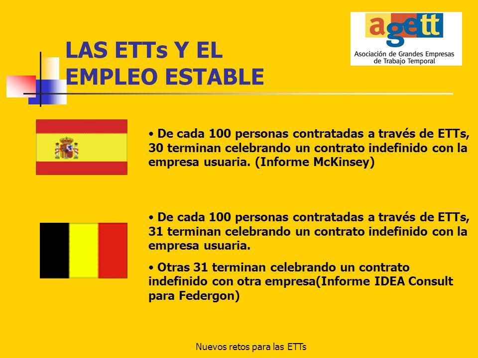 Nuevos retos para las ETTs LAS ETTs Y EL EMPLEO ESTABLE De cada 100 personas contratadas a través de ETTs, 30 terminan celebrando un contrato indefini