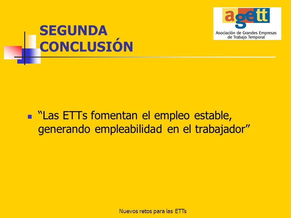 Nuevos retos para las ETTs SEGUNDA CONCLUSIÓN Las ETTs fomentan el empleo estable, generando empleabilidad en el trabajador