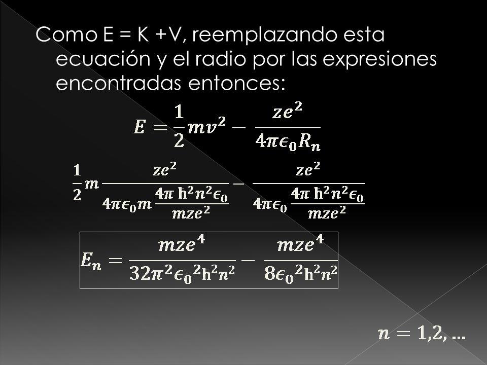 Tomamos la ecuación [2] y elevándola al cuadrado, entonces: Despejamos R de la ecuación anterior Como R está en función de n, los radios están cuantizados.