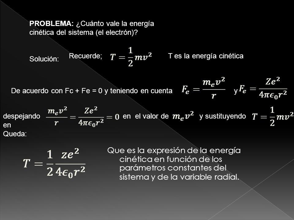 De la anterior ecuación vemos que la energía del electrón y por lo tanto de l átomo está cuantizada, siendo n el número cuántico correspondiente.