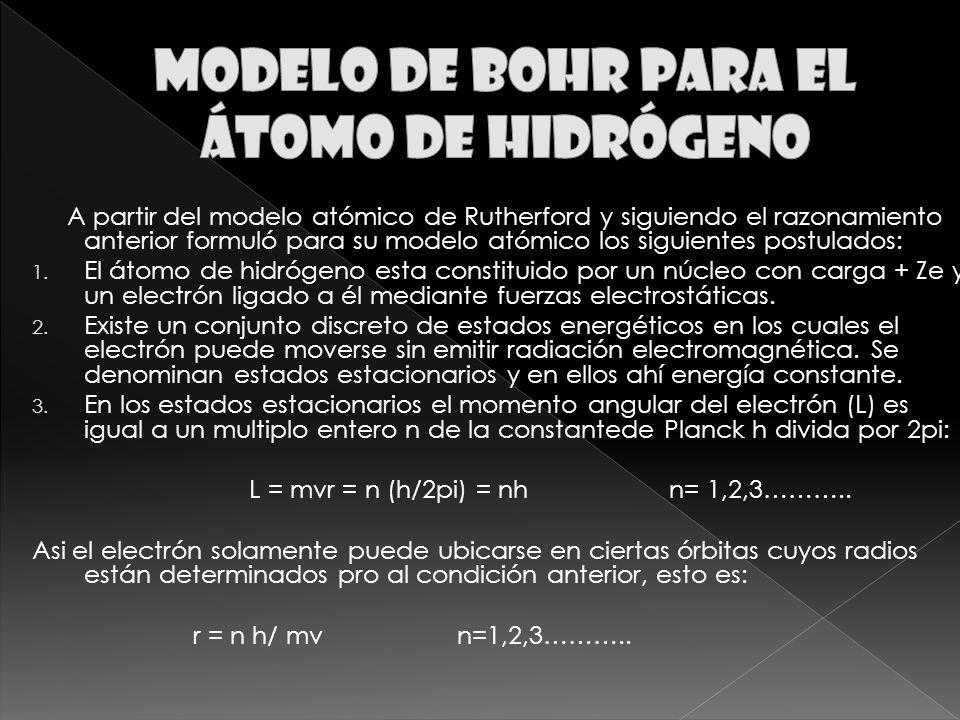 A partir del modelo atómico de Rutherford y siguiendo el razonamiento anterior formuló para su modelo atómico los siguientes postulados: 1.