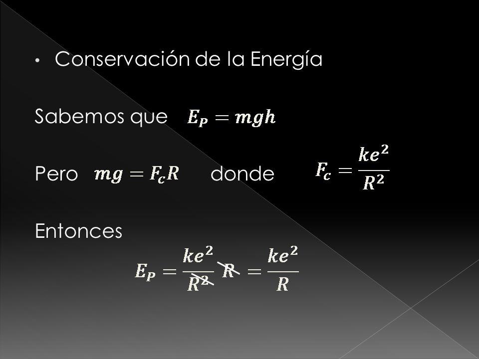 Conservación de la Energía Sabemos que Pero donde Entonces