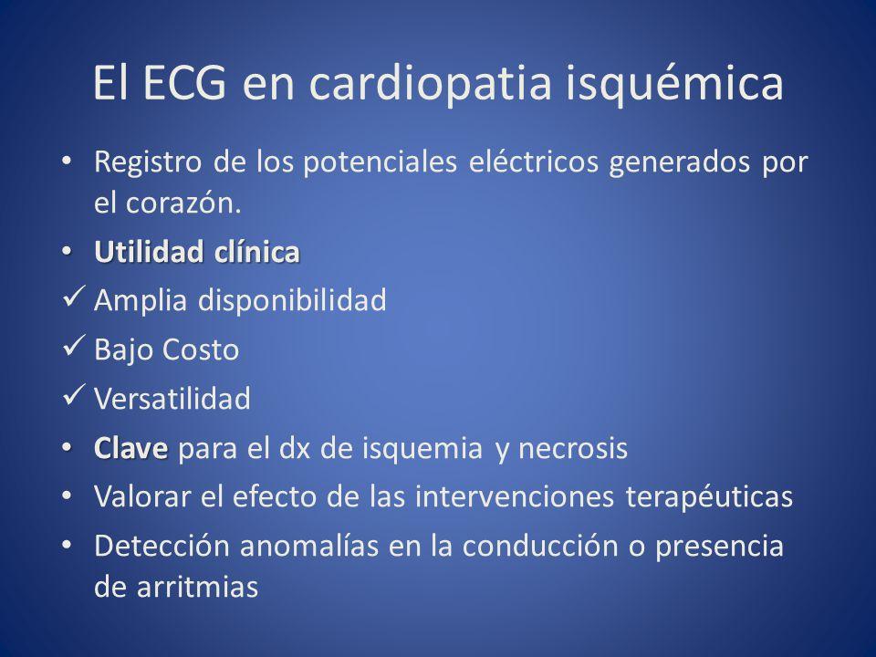 El ECG en cardiopatia isquémica Registro de los potenciales eléctricos generados por el corazón. Utilidad clínica Utilidad clínica Amplia disponibilid