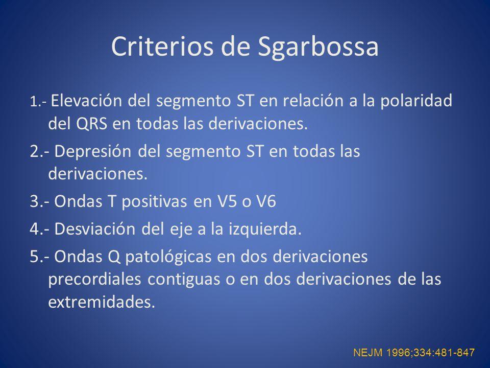 Criterios de Sgarbossa 1.- Elevación del segmento ST en relación a la polaridad del QRS en todas las derivaciones. 2.- Depresión del segmento ST en to