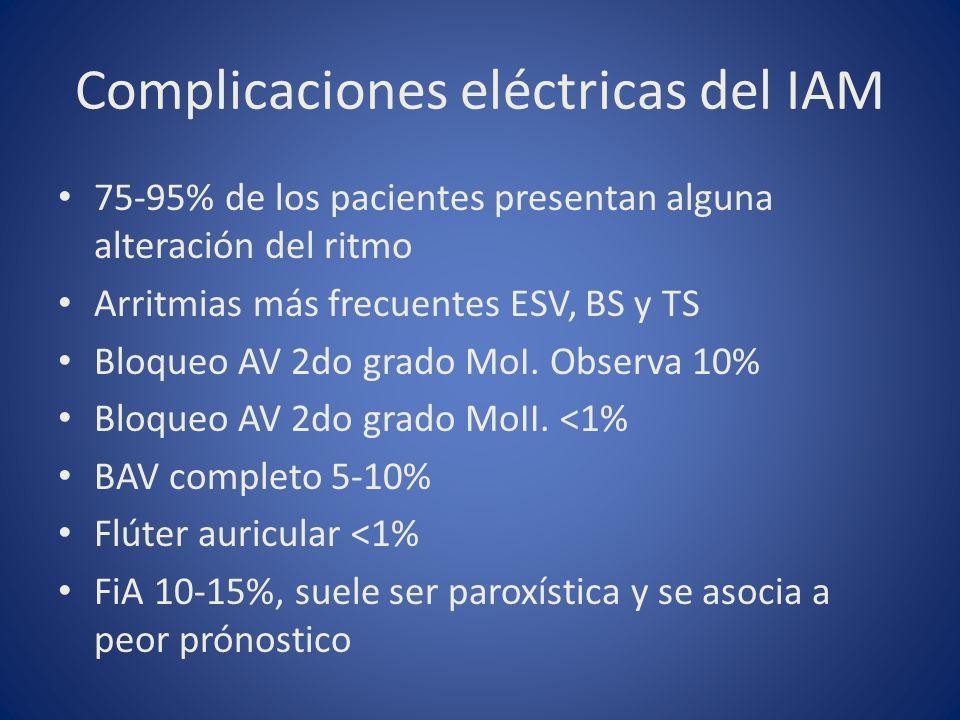 Complicaciones eléctricas del IAM 75-95% de los pacientes presentan alguna alteración del ritmo Arritmias más frecuentes ESV, BS y TS Bloqueo AV 2do g
