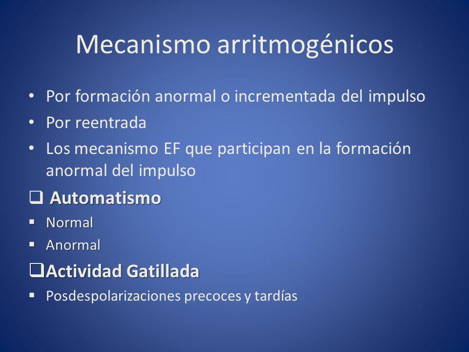 Mecanismo arritmogénicos Por formación anormal o incrementada del impulso Por reentrada Los mecanismo EF que participan en la formación anormal del im