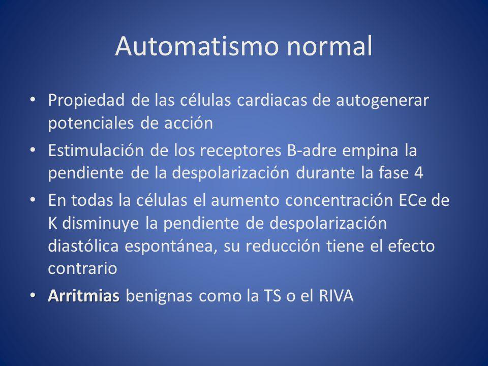 Automatismo normal Propiedad de las células cardiacas de autogenerar potenciales de acción Estimulación de los receptores B-adre empina la pendiente d