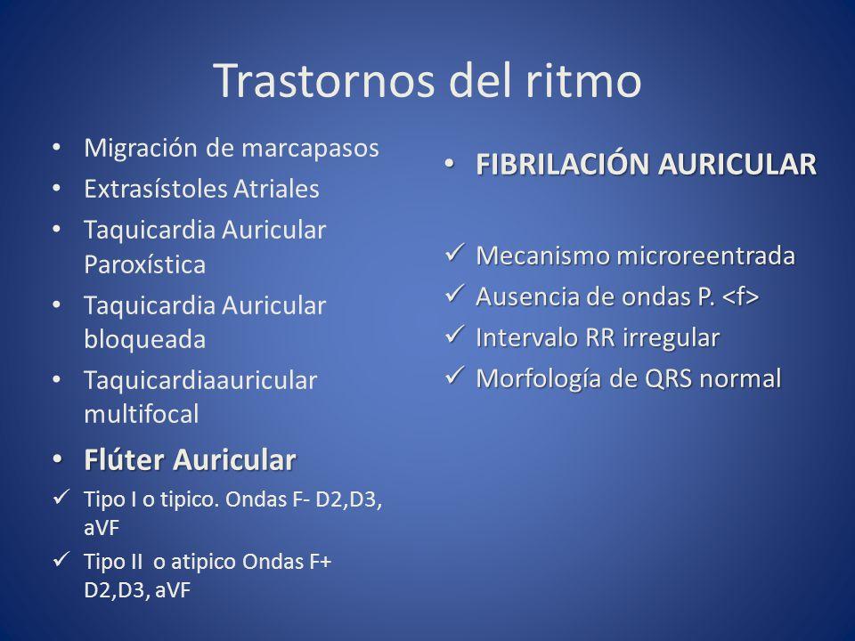 Trastornos del ritmo Migración de marcapasos Extrasístoles Atriales Taquicardia Auricular Paroxística Taquicardia Auricular bloqueada Taquicardiaauric