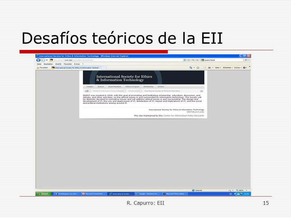 R. Capurro: EII15 Desafíos teóricos de la EII