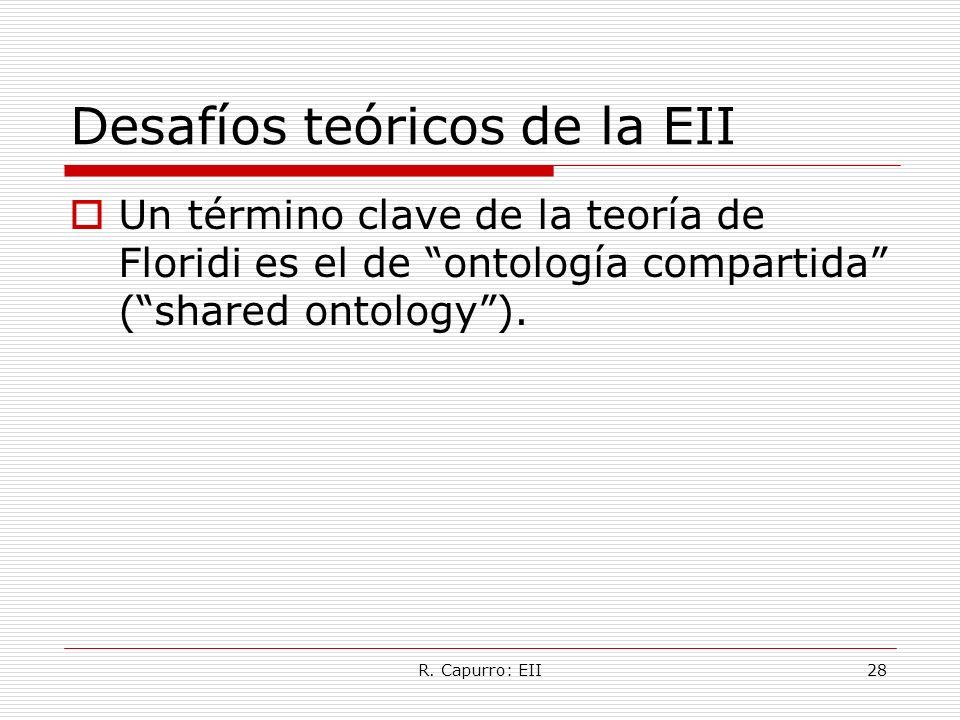 R. Capurro: EII28 Desafíos teóricos de la EII Un término clave de la teoría de Floridi es el de ontología compartida (shared ontology).
