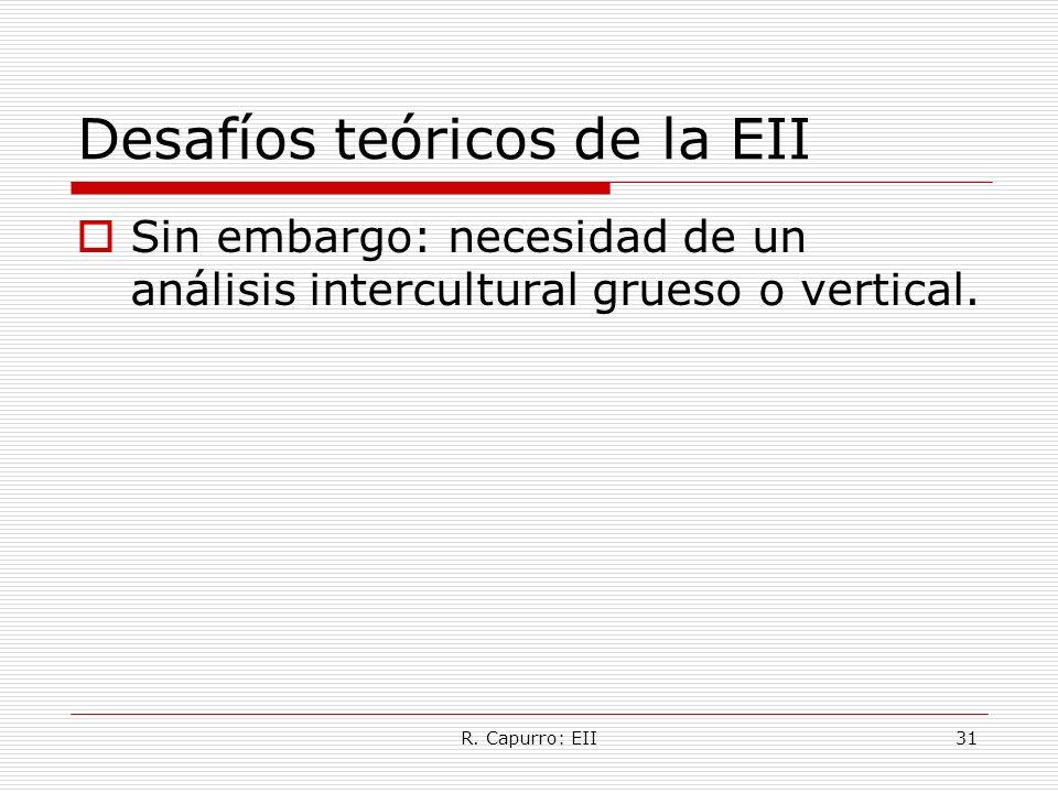R. Capurro: EII31 Desafíos teóricos de la EII Sin embargo: necesidad de un análisis intercultural grueso o vertical.