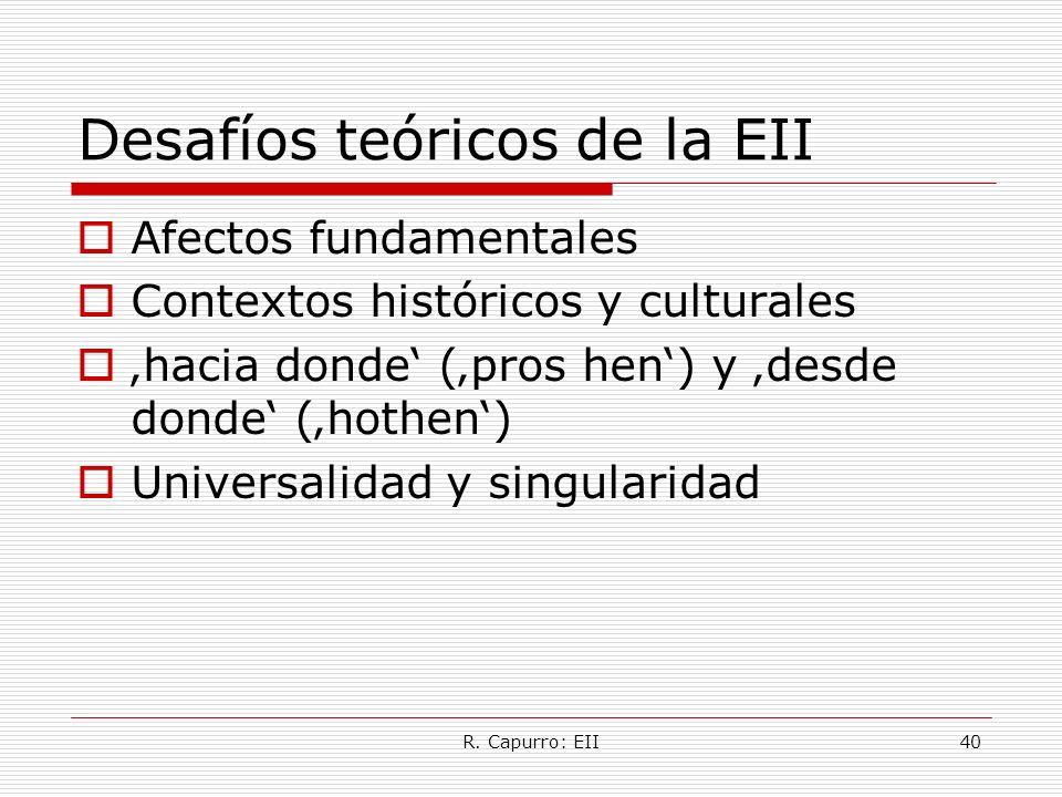 R. Capurro: EII40 Desafíos teóricos de la EII Afectos fundamentales Contextos históricos y culturales hacia donde (pros hen) y desde donde (hothen) Un