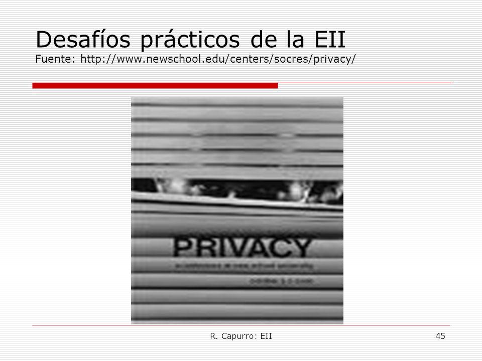 R. Capurro: EII45 Desafíos prácticos de la EII Fuente: http://www.newschool.edu/centers/socres/privacy/
