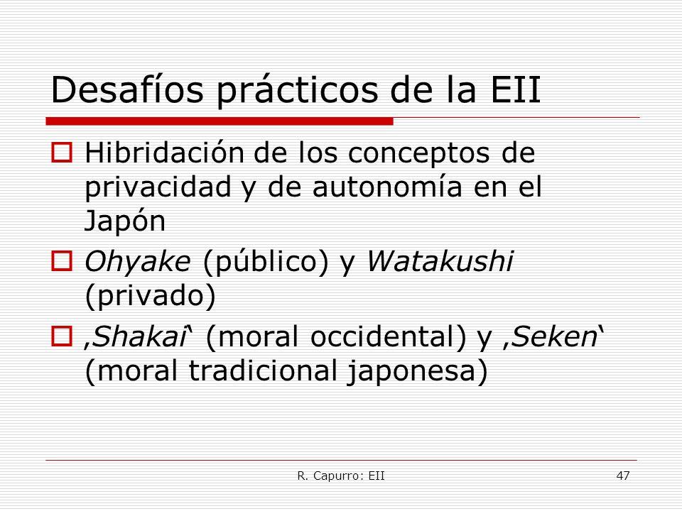 R. Capurro: EII47 Desafíos prácticos de la EII Hibridación de los conceptos de privacidad y de autonomía en el Japón Ohyake (público) y Watakushi (pri