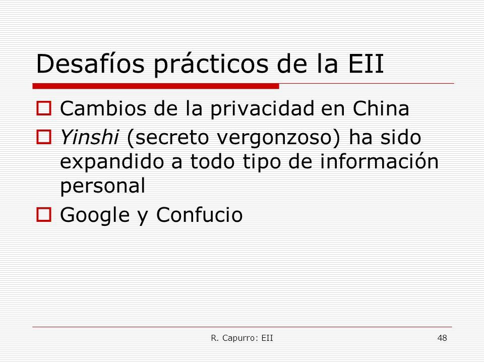 R. Capurro: EII48 Desafíos prácticos de la EII Cambios de la privacidad en China Yinshi (secreto vergonzoso) ha sido expandido a todo tipo de informac