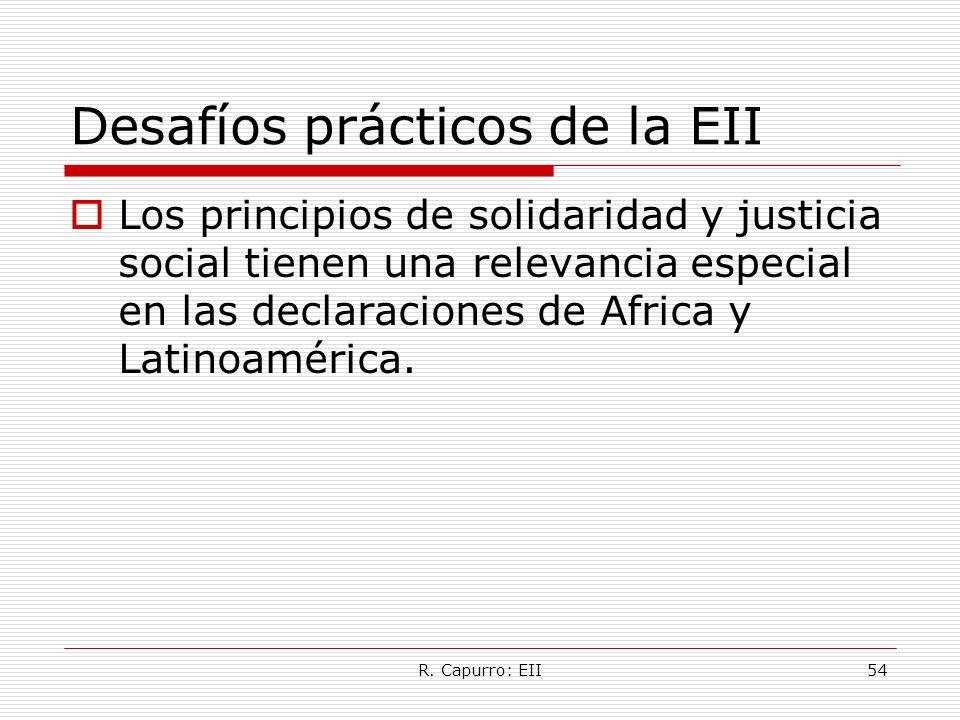 R. Capurro: EII54 Desafíos prácticos de la EII Los principios de solidaridad y justicia social tienen una relevancia especial en las declaraciones de