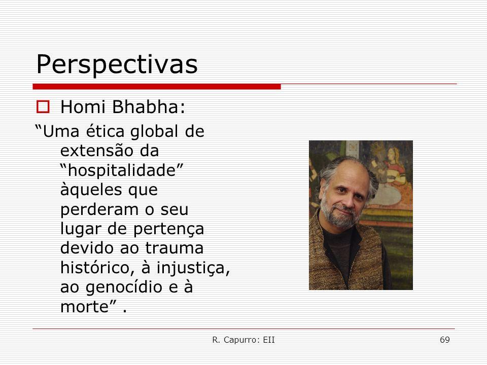 R. Capurro: EII69 Perspectivas Homi Bhabha: Uma ética global de extensão da hospitalidade àqueles que perderam o seu lugar de pertença devido ao traum