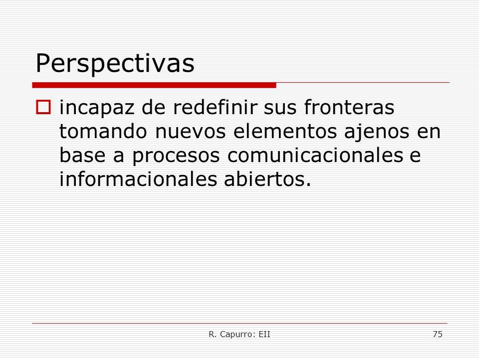 R. Capurro: EII75 Perspectivas incapaz de redefinir sus fronteras tomando nuevos elementos ajenos en base a procesos comunicacionales e informacionale