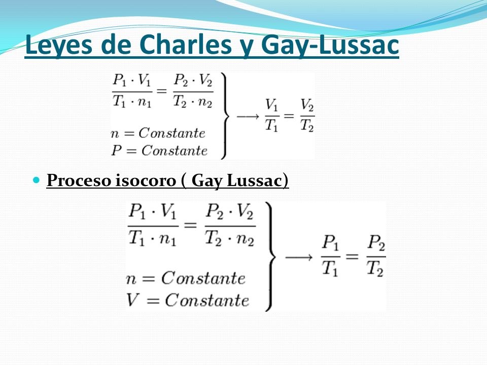 Procesos gaseosos particulares Ley de Boyle-Mariotte También llamado proceso isotérmico. Afirma que, a temperatura y cantidad de gas constante, el vol